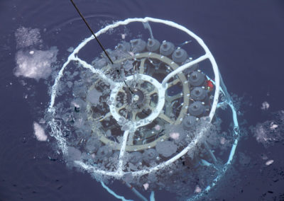 SeaBird Scientific Rosette Water Sampler with CTD under the sea surface in Antarctica