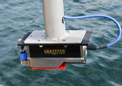IMAGENEX  DT 101 Multibeam Echolotsystem, einsatzbereit für die Tiefenvermessung eines Baggersees.